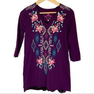 Johnny Was Purple Embroidered Tunic Top Size XS